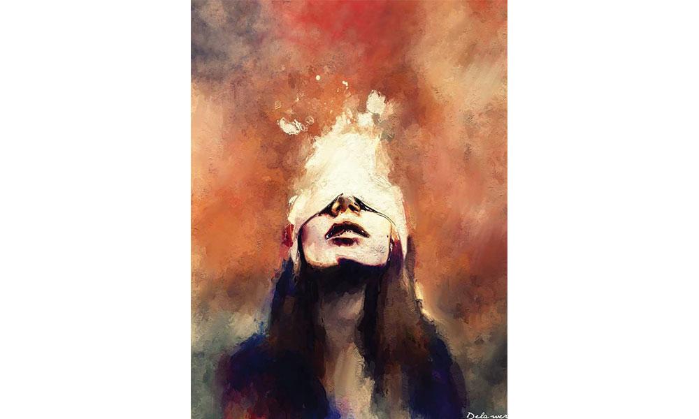 """لوحة للفنان ديلاور عمر بعنوان """"قصة لاجئة"""""""