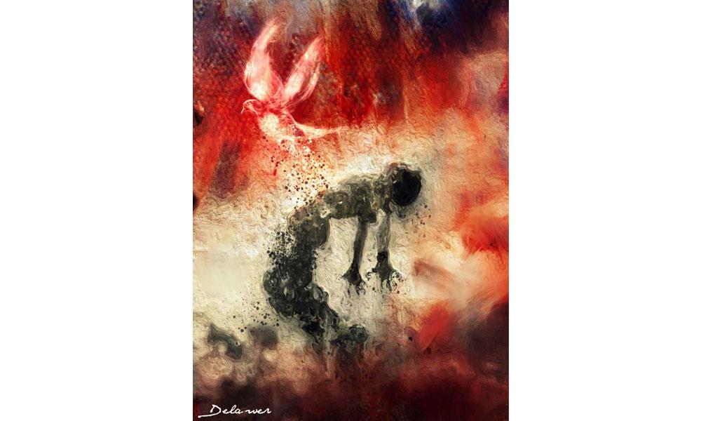 لوحة للفنان التشكيلي ديلاور عُمر